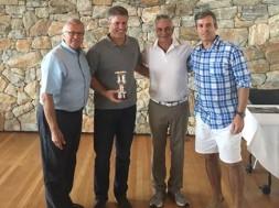 Renato Giusti, presidente do FBV, Andre Iasi, Pedro Assumpção, diretor da JHSF, e Rafael Rocha Miranda, conselheiro do clube de golfe